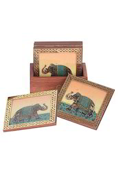 Wooden Gemstone Elephant Painted Coaster With Stand