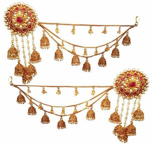 Traditional Red Jhumka Earring With Ear Chain For Women