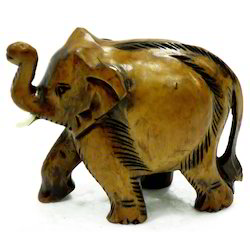 Wooden Carving Elephant With Black Finishing Work