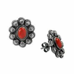 Interesting Coral Gemstone 925 Sterling Silver Stud Earrings
