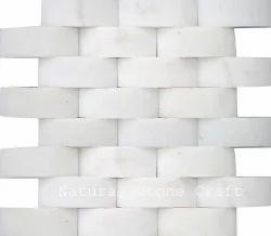 3D White Stone Mosaic Tiles