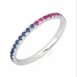 Natural Ruby and Sapphire Gemstone White Gold Ring