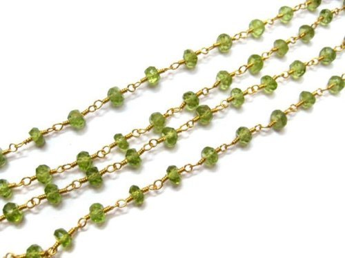 Natural Peridot Gemstone Wire Wrapped Beaded Chain
