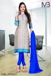 Cream and Blue Mulberry Silk Uniform Salwar Kameez