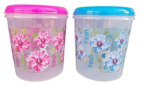 Plastic Container Floral Design Airtight Fresh 3 Pieces Kitchen