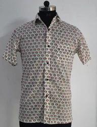 Mens Shirt Hand Block Printed Cotton Fabric