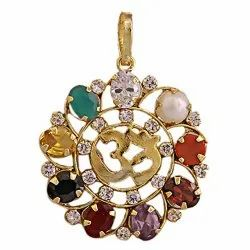 Original Navratan OM Locket Or Pendant Brass Made With Synthetic Gems