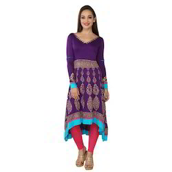 Ira Soleil Purple Block Printed Viscose Knitted Stretchable