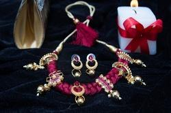 Designer Necklace Set with Maroon Thread Set