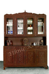 Carved Teakwood Dining Room Cabinet