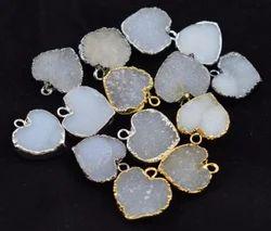 White Druzy Gemstone Connector Jewelry Gemstone Pendant