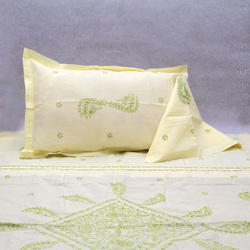 Chikan Hand Embroidered Bed Sheet