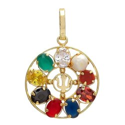 Multi Colour Synthetic Navratna Brass Pendant for Unisex