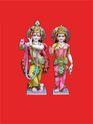 Colorful Dressed Radha-Krishna Marble Moorti