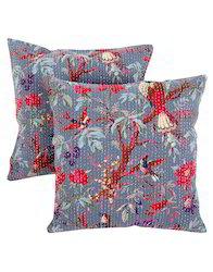 Bird Floral Printed Cotton Kantha Cushion Cover
