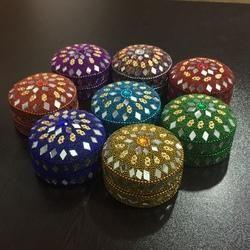 Aluminium Indian Trinket Box Hand Embellished Jewellery Box