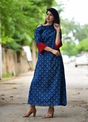 Cotton Party Wear Long Kurtis, Size: S - XL