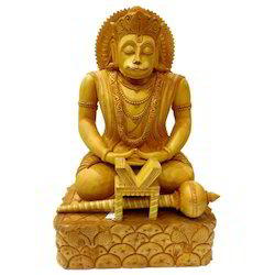 Natural Wooden Hanuman Statue