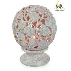 Stone Carved T Light Candle Holder