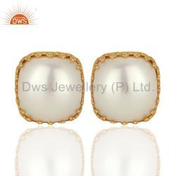 925 Silver Natural Pearl Stud Earrings Jewelry