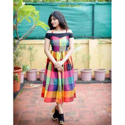 Handloom Checkered Designer Kurti, Size: 34/44
