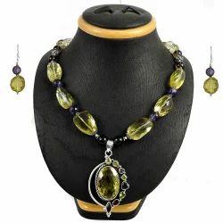 925 Sterling Silver Semi Precious Stones Necklace