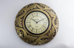 Wooden Carved Brass Wall Clock