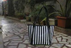 B/W Stripe Tote Bags