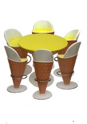 Ice Cream Shape - Set Of 1 Table And 1 Chair