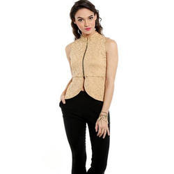 Ira-Soleil-Beige-Waistline-Jacket-With-Gold-Tinsel