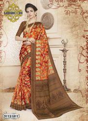 Floral Printed Cotton Saree