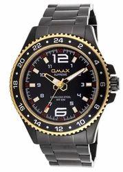OMAX Analog Black Dial Men's Black Watch - SS407
