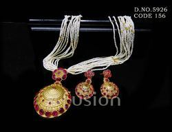 Traditional Beaded South Indian Jewellery Pendant Set