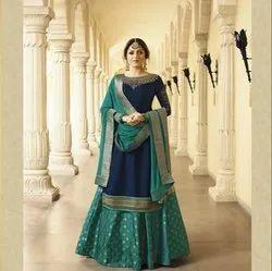 Green Pure Georgette Fancy Sharara Salwar Suit