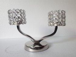 Aluminium Crystal Candle Holder