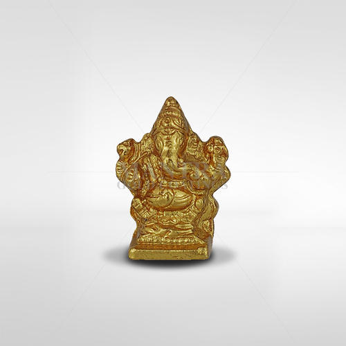 Hindu God Statues Gold Plated Sitting Ganesha Statue