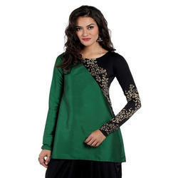 Ira-Soleil-Green-Cut-And-Sew-Tafetta-And-Polyknit-Kurti