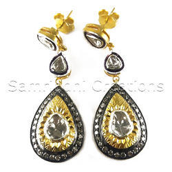 Diamond Polki Silver Earring