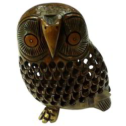 Wooden Undercut Owl Black Finishing Work