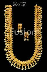 Traditional Ruby Emerald South Indian Long Necklace Set
