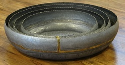 Galvanised Round Trays W/Brass Welding & Brass Trim ( Set Of 4)