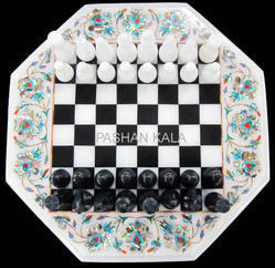 Beautiful Marble Inlay Chess Table Top