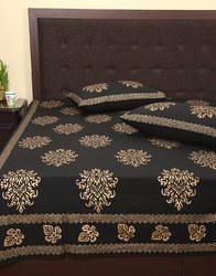 Damask Hand Block Gold Printed Leaves Double Bed Sheet