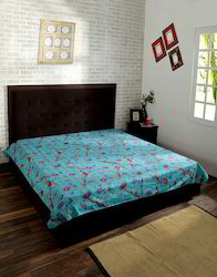Turquoise And Green Bird Printed Kantha Work Bed Covers