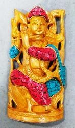 Wooden Krishna Statue With Stone Work