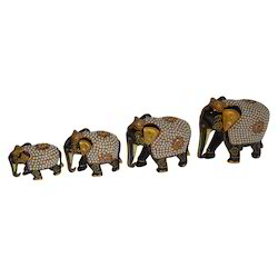 Wooden Embossed Elephant With Pearl Work