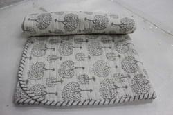 Flower Print Kantha Cotton Baby Quilt