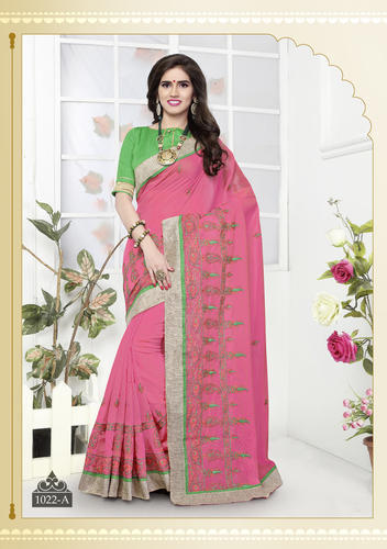 Cotton Chanderi Embroidered Sari