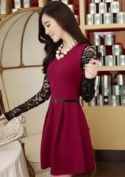Exclusive Designer Maroon Western Dress
