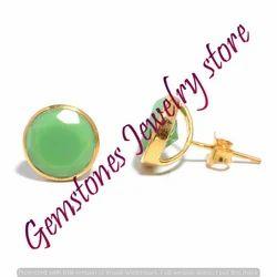 Chrysoprase Gemstone Ear Stud